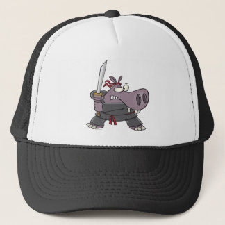 silly funny ninja hippo cartoon trucker hat