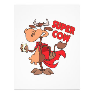 silly funny super cow cartoon character flyer