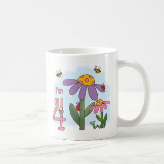 Silly Garden 4th Birthday Basic White Mug