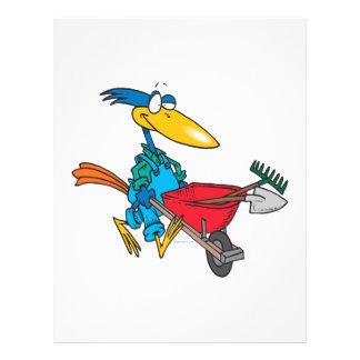 silly gardening bird with wheel barrow custom flyer