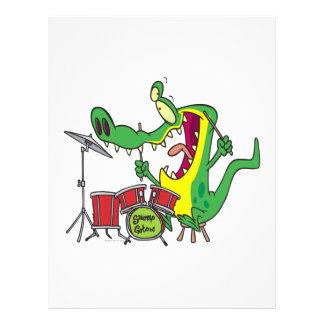 silly gator alligator drummer drumming cartoon flyer