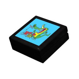 silly gator alligator drummer drumming cartoon small square gift box