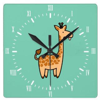 Silly Giraffe Custom Square Clock