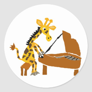 Silly Giraffe Playing the Piano Classic Round Sticker