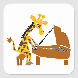 Silly Giraffe Playing the Piano Square Sticker