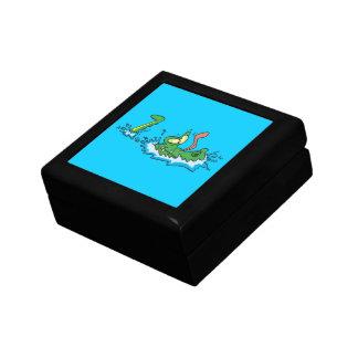 silly gliding alligator crocodile cartoon small square gift box