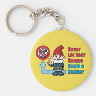Silly Gnome and Badger Key Ring