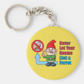 Silly Gnome And Ferret Key Ring