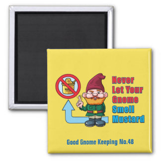 Silly Gnome and Mustard Square Magnet