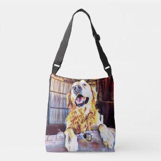 Silly Golden Retriever Photograph Crossbody Bag