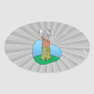 silly golf clubs in golf bag oval sticker