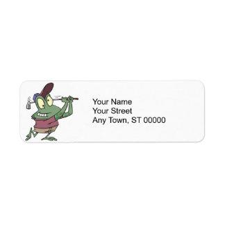 silly golfing golfer frog cartoon