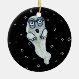 Silly Goofy Cartoon Ghost Big Eyes Stars Christmas Ornament