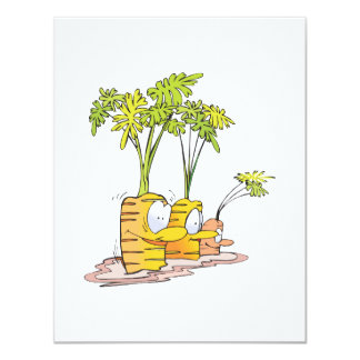 silly goofy cute cartoon carrots rooted 11 cm x 14 cm invitation card
