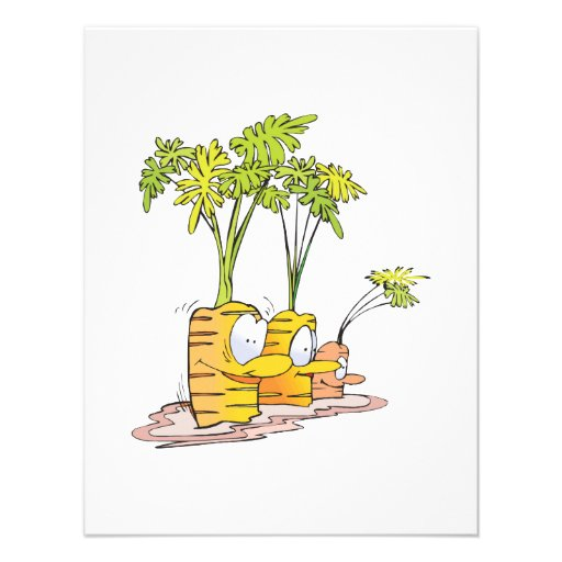 silly goofy cute cartoon carrots rooted invitation