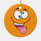 Silly Goofy Square Emoji Christmas Ornament