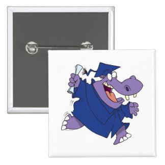 silly graduate graduation hippo cartoon 15 cm square badge