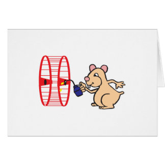 silly hamster oiling wheel card