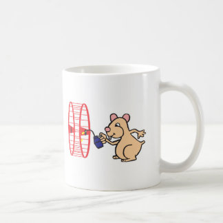 silly hamster oiling wheel coffee mug