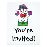 silly happy snowman 4.25x5.5 paper invitation card