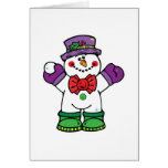 silly happy snowman greeting card