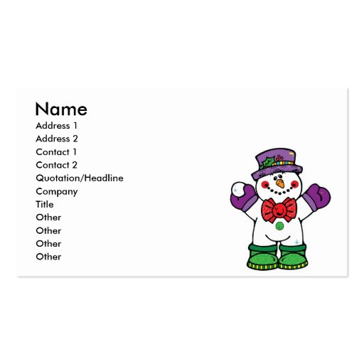 silly happy snowman pack of standard business cards