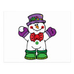 silly happy snowman post cards