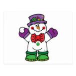 silly happy snowman postcard