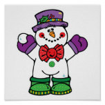 silly happy snowman print