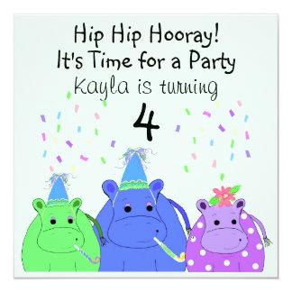Silly Hippo Party Invitation