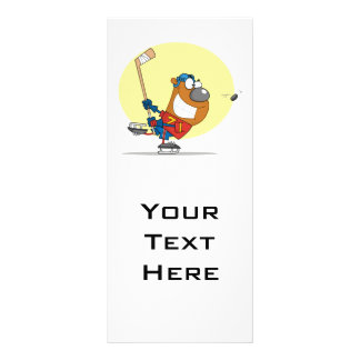 silly ice hockey bear player personalised rack card
