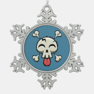 Silly Jolly Roger Pewter Snowflake Decoration