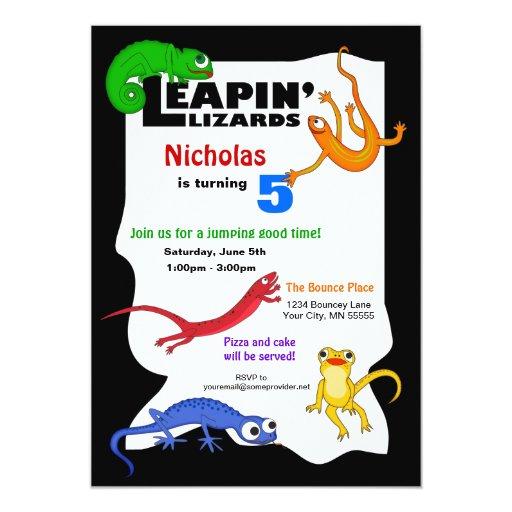 Silly Leaping Lizard Birthday Invitation