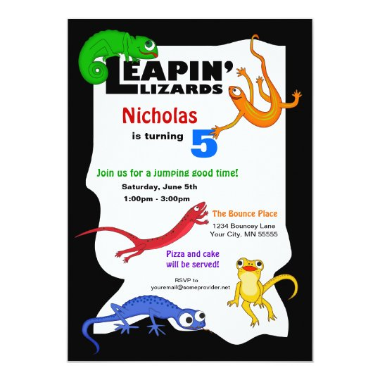 Silly Leaping Lizard Birthday Invitation