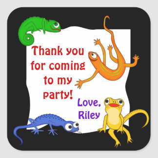 Silly Leaping Lizard Gift Label Square Sticker