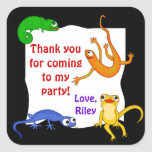 Silly Leaping Lizard Gift Label Square Stickers