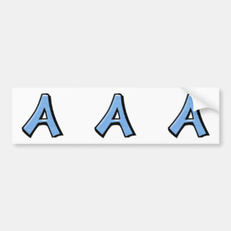 Silly Letter A blue cutout Stickers Bumper Sticker