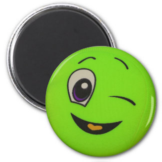 Silly Lime Green Smiley Face Magnet