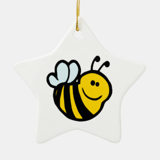 silly little bumble bee smiling cartoon character ceramic star decoration