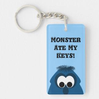 Silly Little Dark Blue Monster Double-Sided Rectangular Acrylic Key Ring