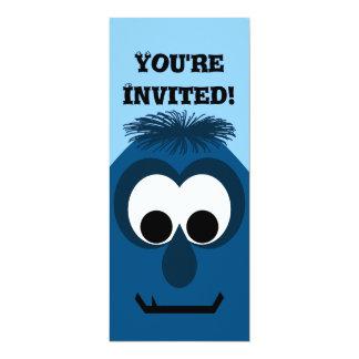 Silly Little Dark Blue Monster 10 Cm X 24 Cm Invitation Card