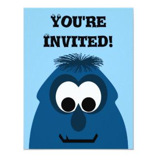 "Silly Little Dark Blue Monster 4.25"" X 5.5"" Invitation Card"