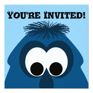 Silly Little Dark Blue Monster 13 Cm X 13 Cm Square Invitation Card
