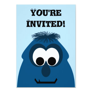 Silly Little Dark Blue Monster Personalized Invite