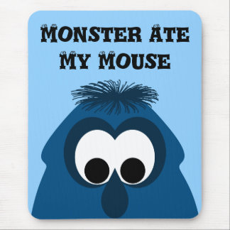 Silly Little Dark Blue Monster Mouse Pad