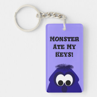 Silly Little Dark Blue Violet Monster Double-Sided Rectangular Acrylic Key Ring