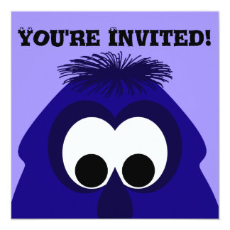 "Silly Little Dark Blue Violet Monster 5.25"" Square Invitation Card"