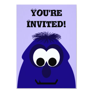 Silly Little Dark Blue Violet Monster Invitation