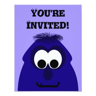 Silly Little Dark Blue Violet Monster Invite