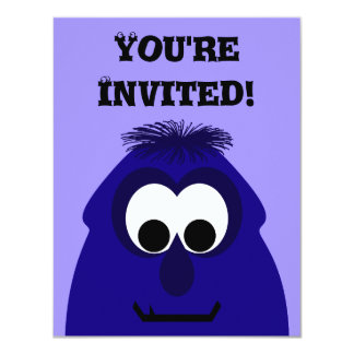 "Silly Little Dark Blue Violet Monster 4.25"" X 5.5"" Invitation Card"
